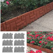 6pcs Plastic Edging Bordure Fence Brick Effect Lawn Garden Grass Edging Skirting Border Picket Fencing Shopee Philippines