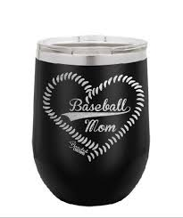Baseball Mom Laser Engraved Stemless Wine Tumbler Blended Customs Woodworking And Laser Engraving