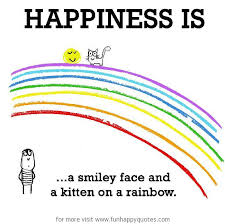 happiness is a smiley face and a kitten on a rainbow funny happy