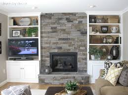 fireplace and built in bookcases