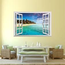 3d Fake Window Wall Decal Beach Sea Wish