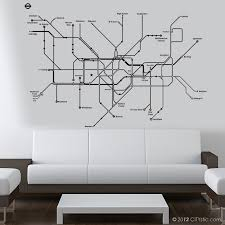 London Wall Decal Huge Underground Tube Map With Color Dots For Subway Lines Names Citystic Wall Decals