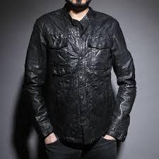 densig leather shirt jacket small mens