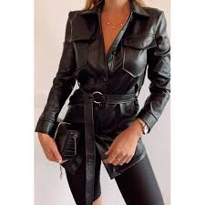 black faux leather shirt dress from