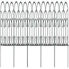 Amagabeli Decorative Garden Fence Coated Metal Outdoor Rustproof 18in X 7 5ft Landscape Wrought Iron Wire Border Fencing Folding Patio Fences Flower Bed Barrier Section Panel Decor Picket Edging Black Decorative Fences