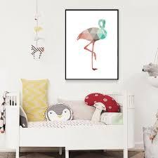 Abstract Flamingo Geometric Modern Wall Art Animal Poster Canvas Print Nordicwallart Com