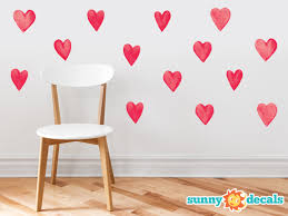 Heart Pattern Fabric Wall Decal 14 Hand Drawn Hearts Sunny Decals