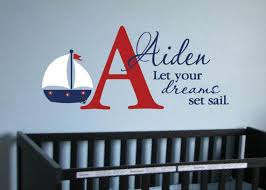 Let Your Dreams Set Sail Nautical Nursery Wall Decal Child Etsy Kids Wall Decals Nautical Nursery Wall Nursery Wall Decals