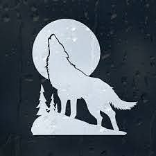 White Wolf In A Moon Light Car Decal Vinyl Sticker Ebay