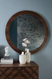 round mirror with wooden frame idfdesign