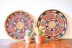 colorful round decorative vintage woven