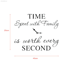 Time Spent With Family Is Worth Every Second Home Wall Decal Sticker Clock Art Home Garden Decor Decals Stickers Vinyl Art