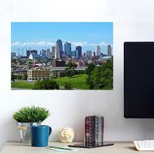 Kansas City Skyline Black White Pop Color Wall Decals Peel Stick Re Movable Wall Art Zapwalls