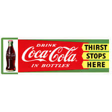 Coca Cola In Bottles Thirst Stops Here 1950s Wall Decal 24 X 9 Vintage Style Ebay