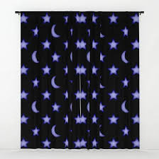 Moon And Stars Black Purple Boys Children Window Curtains Drapes