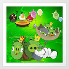 Angry Birds Cartoon Mix Art Print by maxvision