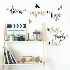 Black And Gold Inspirational Words With Birds Wall Decals Us Wall Decor