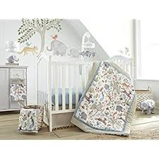 Amazon Com Levtex Baby Jungalo Animal Themed 5 Piece Crib Bedding Set Quilt 100 Cotton Crib Fitted Sheet Dust Ruffle Diaper Stacker And Large Wall Decals Baby