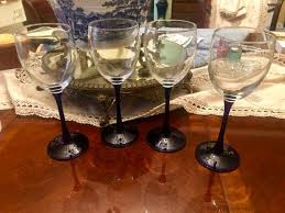 tall stem wine glasses cobalt blue wine