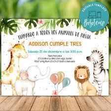 Descarga Inmediata De Las Invitaciones De Cumpleanos De Zoo Safari