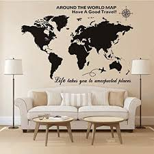 Amazon Com Higoss Large World Map Wall Decal With Compass Travel Quotes Wall Decal Vinyl Sticker For Home Office Wall Decor Black Home Kitchen