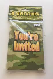 Invitaciones Sobre Camuflaje Fiesta Soldado Militar Camo 8pz