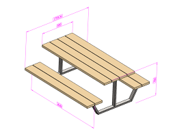 garden furniture bench with table