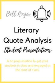 literary quotes presentation bell ringer by the ela corner tpt