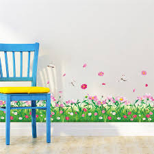 Diy Wall Stickers Home Decor Nature Colorful Flowers Grass Dragonfly Stickers Muraux 3d Wall Decals Floral Pegatinas De Pared Sticker Decal Shop Decal Decor Removable Wall Artsticker Home Aliexpress