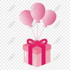 vector pink balloon gift box png