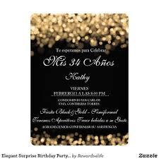 Invitacion Luces Elegantes Del Oro De La Fiesta De Cumpleanos