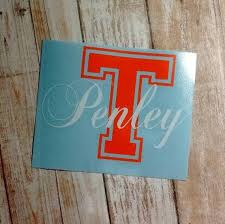 College Initial Decal Name Decal Monogram Initial Decal Yeti Etsy