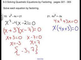 6 3 solving quadratic equations by