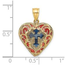 14k yellow gold 3 d with red blue