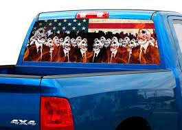 Product Flame Skeletons Usa Us Flag Rear Window Decal Sticker Pick Up Truck Suv Car
