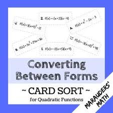 converting between forms quadratics