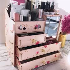 makeup storage box with mirror cosmetic