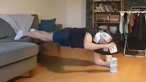man s funny toilet paper workout during