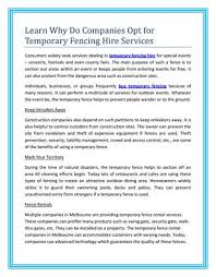 Learn Why Do Companies Opt For Temporary Fencing Hire Services By Constructionsafetyequipment Issuu