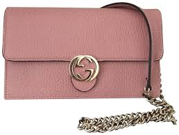 gucci leather wallet on the chain pink