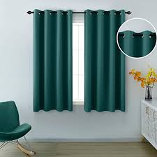 Amazon Com Dark Green Curtains Short Blackout Small Window Curtain Panel With Grommet 2 Panels Half Insulated Thermal Light Blocking Room Darkening Curtains For Bedroom Boys Nursery Kids Room 52 X 45 Inch