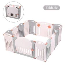 Joymor 16 Panels Baby Playpen Bpa Free Safety Anti Skid Playards Kids Activity Center With Locked Door Indoor Outdoor Pink White Fence Walmart Com Walmart Com