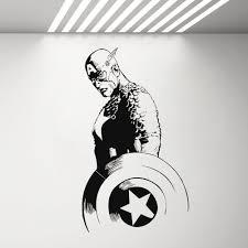 Captain America Avengers Wall Decal Vinyl Sticker Comics Superhero Art Decor Stickers Bedroom Boys Room Decoration Mural G552 Buy At The Price Of 5 58 In Aliexpress Com Imall Com