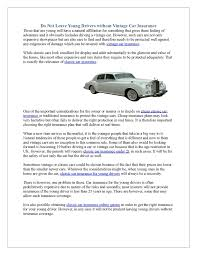 do not leave young drivers out vintage car insurance