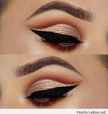 black and gold glitter eye makeup cat