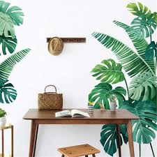 Amazon Com Derun Trading Leaf Wall Decals Palm Tree Wall Decals Green Leaves Wall Paper Evergreen Wall Sticker Removable Decal Peel And Stick Giant Wall Decals Painterly Ivy Peel And Stick Wall Decals