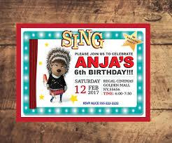 Sing Movie Birthday Invitation Ash Invite Printable Birthday