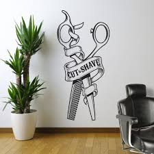 Barbershop Wall Sticker Sign Wall Art Vinyl Decal Sticker Mural Barber Window Wish