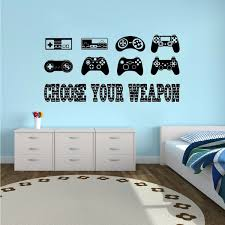 Game Controllers Wall Sticker Gamer Quote Vinyl Wall Decal Boys Room Decor Playroom Wallpaper Video Game Controller Decal Wish