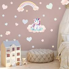 Unicorn Rainbow Wall Sticker Watercolor Style Cartoon Muppet Could Heart Wall Decals For Kids Girls Living Room Home Decoration Wall Stickers Aliexpress